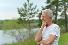 Pensive elderly man in summer park Stock Photography