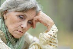 Pensive elderly woman Stock Photos