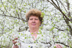 Pensive elderly woman in spring nature with cherry flowers Stock Photos