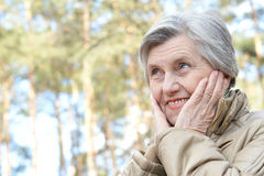 Pensive elderly woman Royalty Free Stock Photos