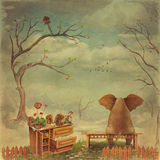 Elephant on a bench in the sky royalty free illustration