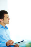 Pensive employee Royalty Free Stock Images