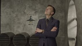 Pensive entrepreneur looking up in deep thoughts stock video footage
