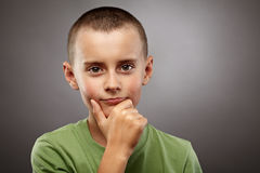 Pensive European child closeup Stock Photography
