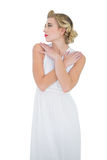 Pensive fashion blonde model posing looking away Stock Photo