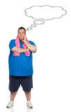 Pensive fat man with sportswear Stock Image