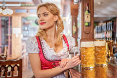 Pensive female drinking beer in pub Stock Image