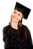 Pensive female graduate Stock Photos
