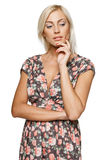 Pensive female looking down Royalty Free Stock Images
