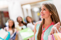 Pensive female shopper Stock Image