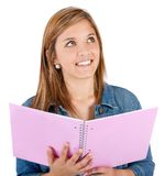 Pensive female student Stock Images