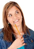 Pensive female student Stock Photography