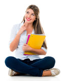 Pensive female student Royalty Free Stock Images