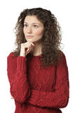 Pensive female in sweater Royalty Free Stock Image