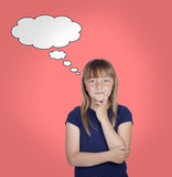 Pensive girl with blond hair Stock Photo