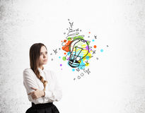 Pensive girl with braided hair and colorful light bulb sketch Stock Image