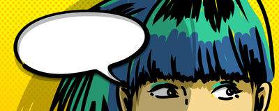 Pensive girl comics vector illustration