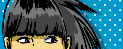 Retro girl eyes. Pensive girl eyes expression  drawing, retro background Royalty Free Stock Images