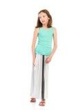 Pensive girl in gray long skirt Stock Photos