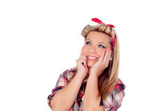Pensive girl with pretty smile in pinup style Stock Images