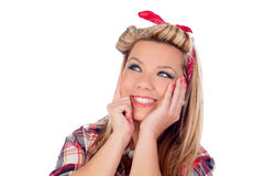 Pensive girl with pretty smile in pinup style Royalty Free Stock Photo