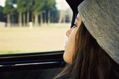 pensive girl teenager stock image