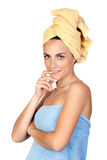 Pensive girl with towel Royalty Free Stock Photos