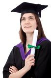 Pensive graduation woman Royalty Free Stock Photo