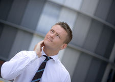 Pensive Handsome Corporate Man Stock Images