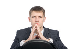 Pensive handsome young businessman Royalty Free Stock Images