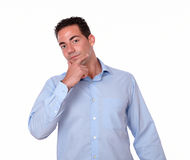 Pensive hispanic man looking at you Royalty Free Stock Photo