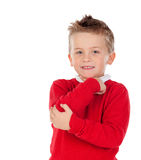 Pensive kid with red jersey Royalty Free Stock Image