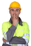 Pensive laborer Stock Images
