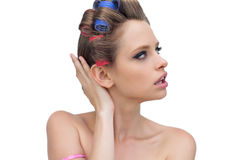 Pensive lady posing with hair curlers Royalty Free Stock Image