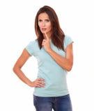 Pensive latin woman looking at you Stock Image