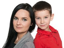 Pensive little boy with his mother Royalty Free Stock Photography
