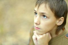 Pensive little boy. Portrait of pensive little boy in the autumn Stock Photography