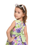 Pensive little girl looks back Royalty Free Stock Image