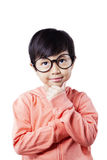Pensive little student with thinking poses Stock Photos