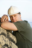 Pensive looking construction worker Royalty Free Stock Images