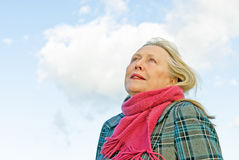 Pensive looking  older lady Royalty Free Stock Photo