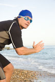 Pensive looking triathlete Royalty Free Stock Photography