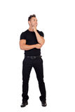 Pensive man black dress Stock Photo