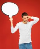 Pensive man with blank text bubble Royalty Free Stock Photo