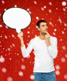 Pensive man with blank text bubble Royalty Free Stock Images