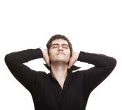 Pensive man with closed eyes Royalty Free Stock Photo