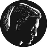 Pensive Man in Deep Thought Circle Woodcut Royalty Free Stock Photography