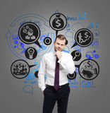 Pensive man and money icons on gray wall Royalty Free Stock Photos