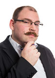 Pensive man. With mustache and eyeglasses Royalty Free Stock Images