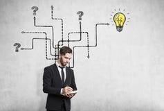 Pensive man near arrow sketch, light bulb Royalty Free Stock Image